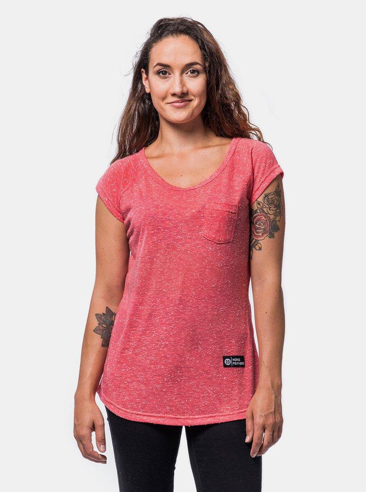 Růžové dámské tričko Horsefeathers