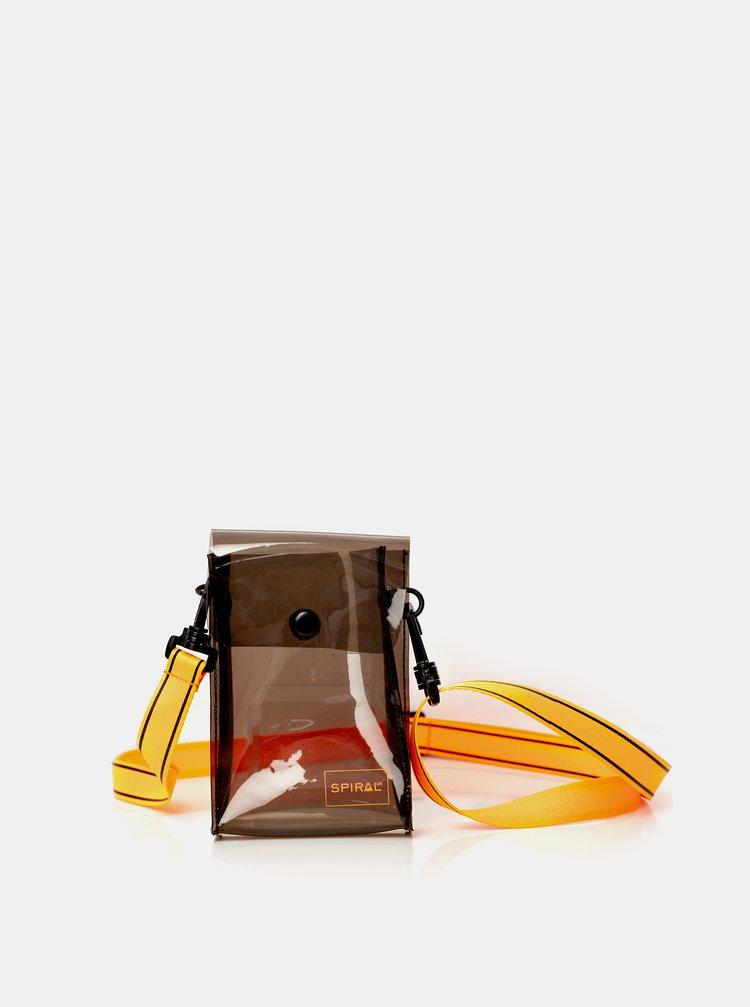 Oranžovo-černá transparentní crossbody taška Spiral
