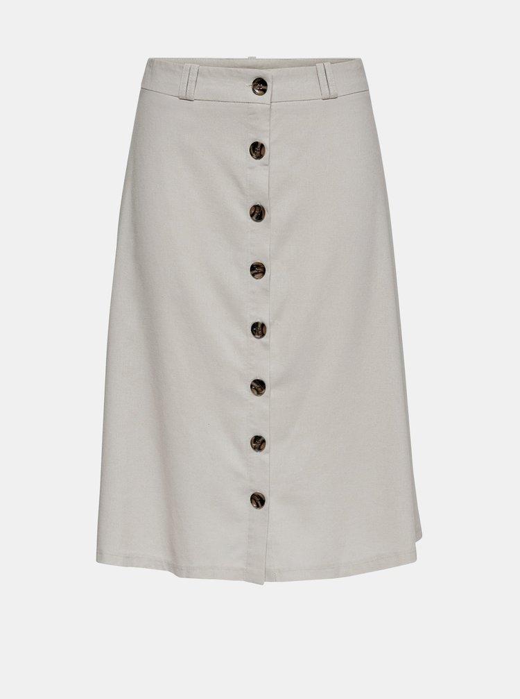 Krémová sukně s příměsí lnu ONLY Adeline
