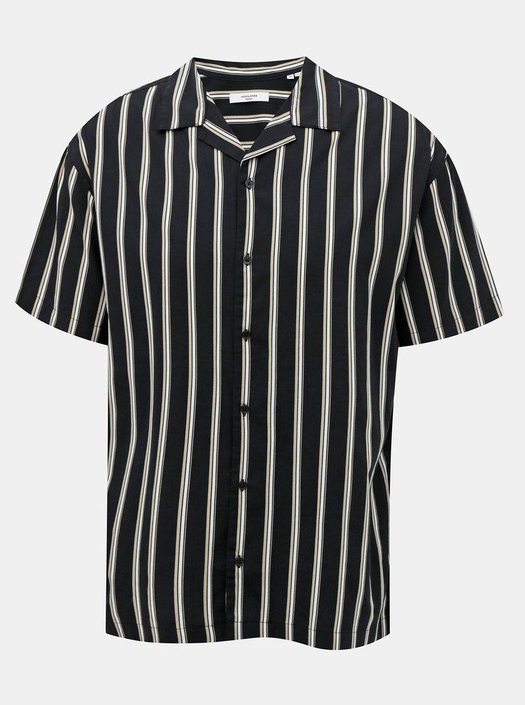 Čierna pruhovaná košeľa Jack & Jones Blastripe