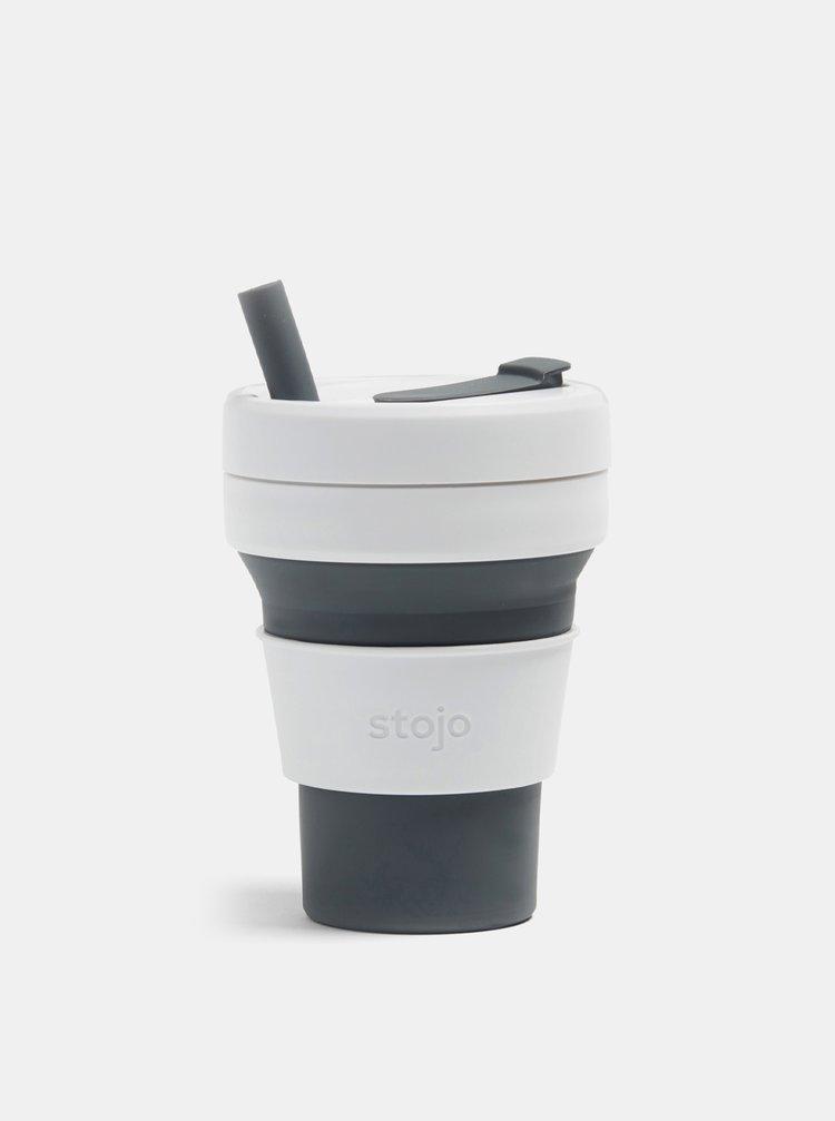 Bílo-šedý cestovní skládací hrnek s brčkem Stojo Biggie 470 ml