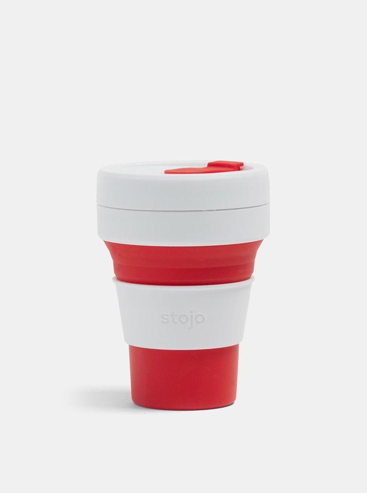 Bílo-červený cestovní skládací hrnek Stojo Pocket 355 ml