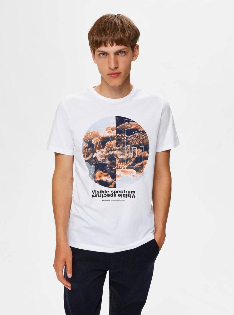 Bílé tričko s potiskem Selected Homme Zander