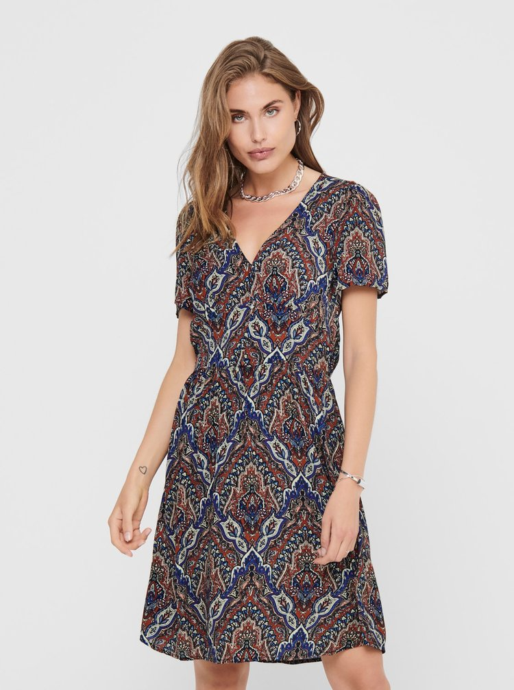 Tmavě modré vzorované šaty ONLY Vide