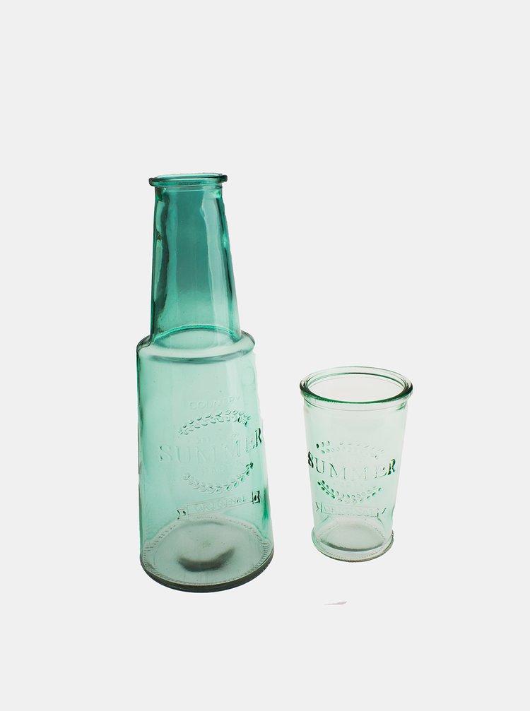 Zelená skleněná karafa se skleničkou Dakls