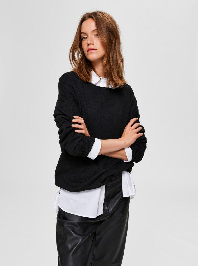 Čierny sveter s prímesou vlny Selected Femme