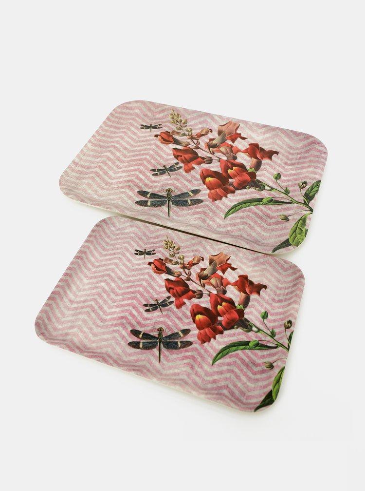 Sada dvoch ružových tácok Tranquillo Home Dragonfly