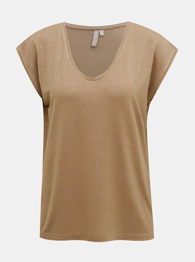 Béžové tričko s metalickými vlákny Pieces