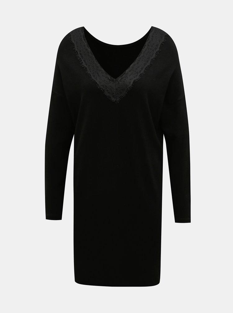 Čierne svetrové šaty ONLY