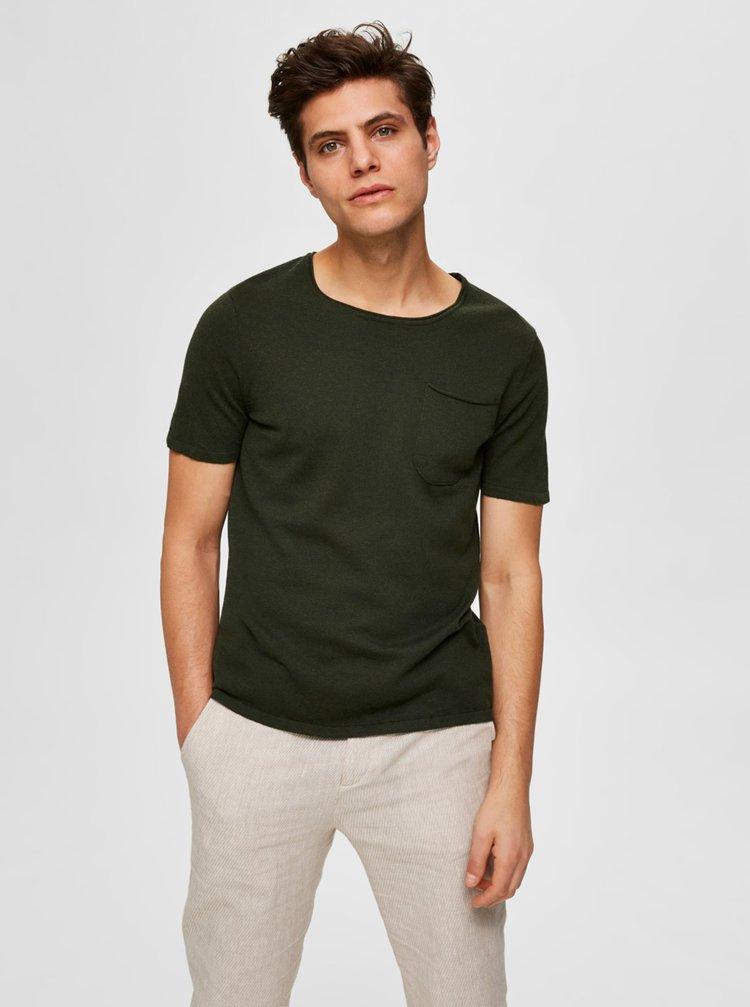 Khaki basic tričko Selected Homme