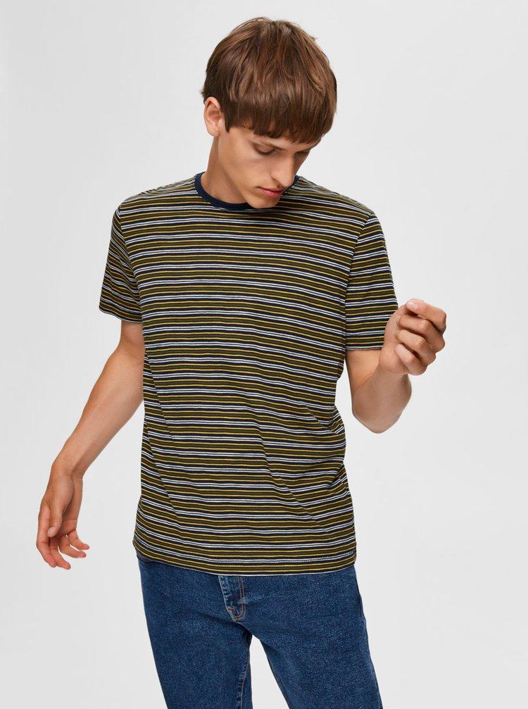 Tmavě zelené pruhované tričko Selected Homme
