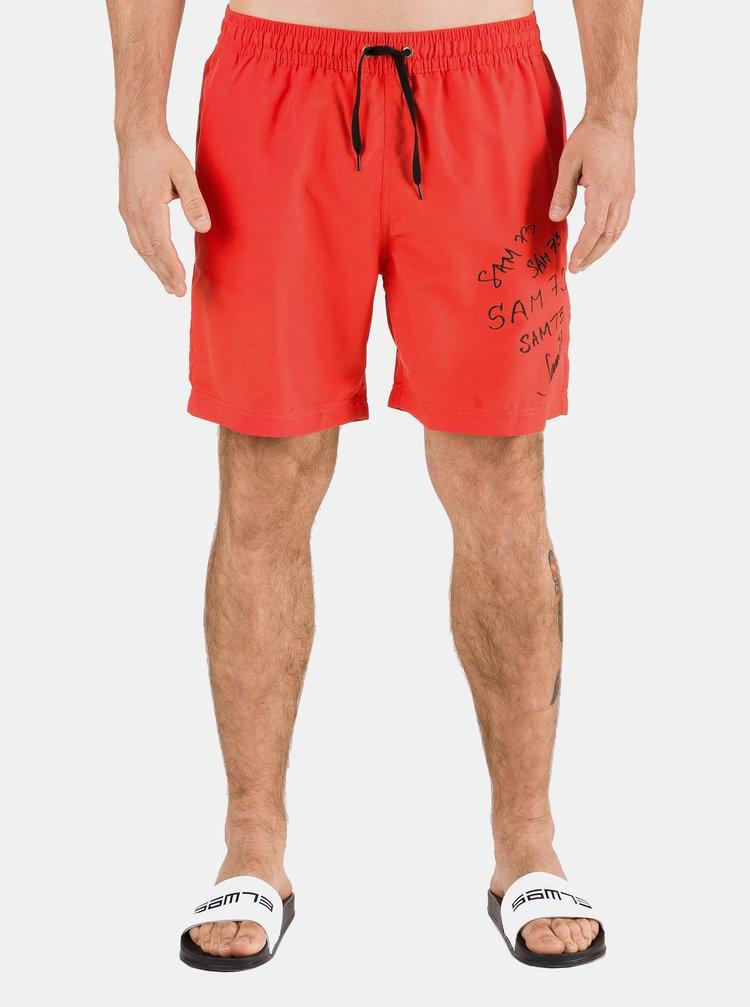 Červené pánské plavky s potiskem SAM 73