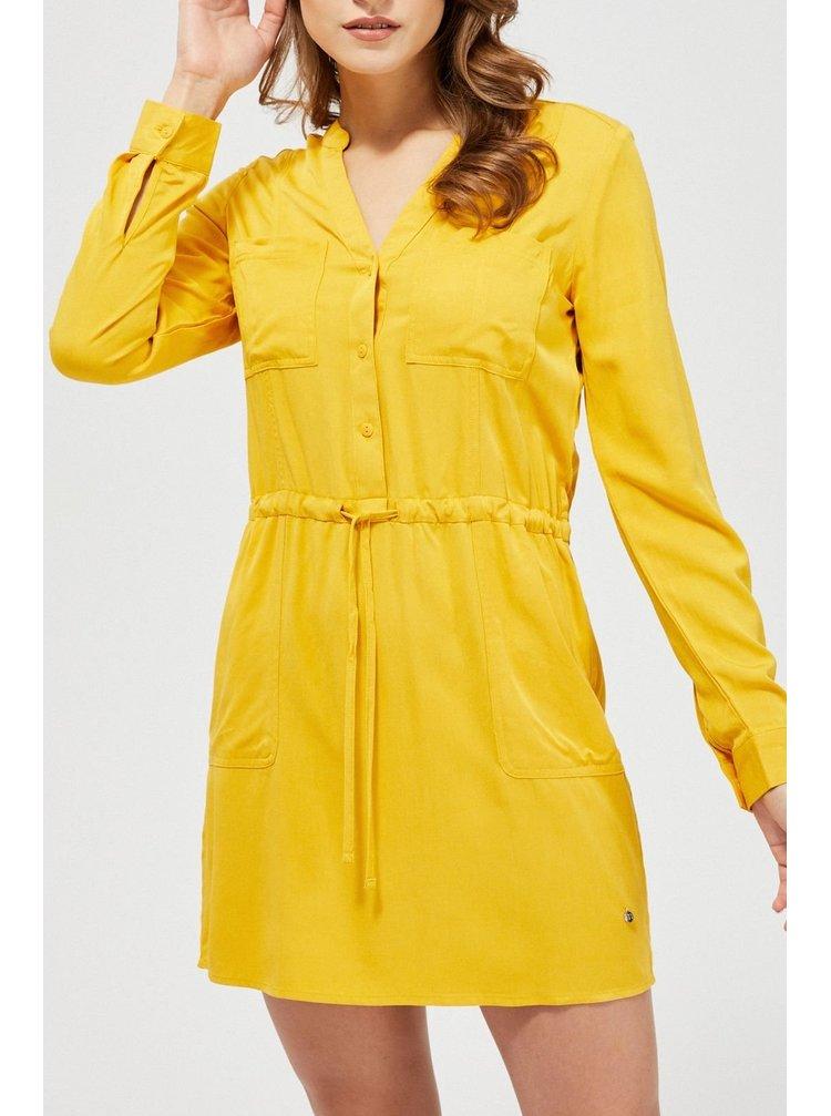 Moodo hořčicové košilové šaty s vázáním v pase