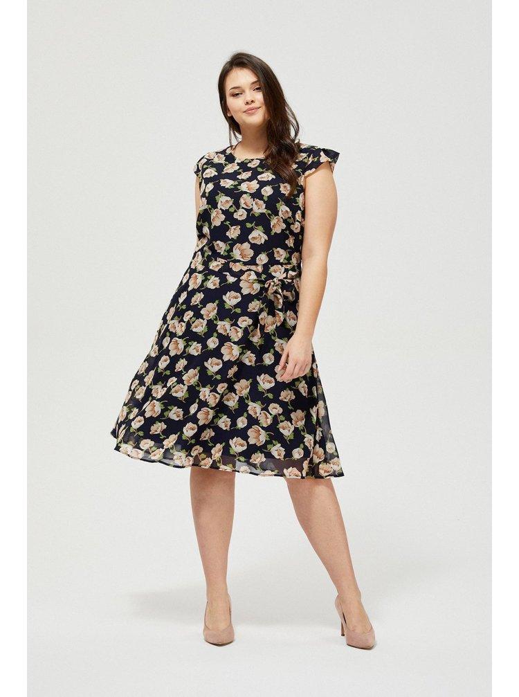 Moodo tmavě modré šaty s vázáním v pase