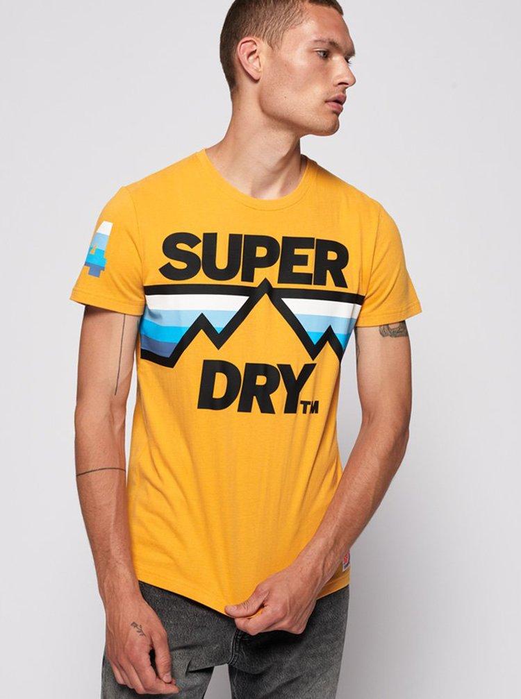 Žluté pánské tričko s potiskem Superdry