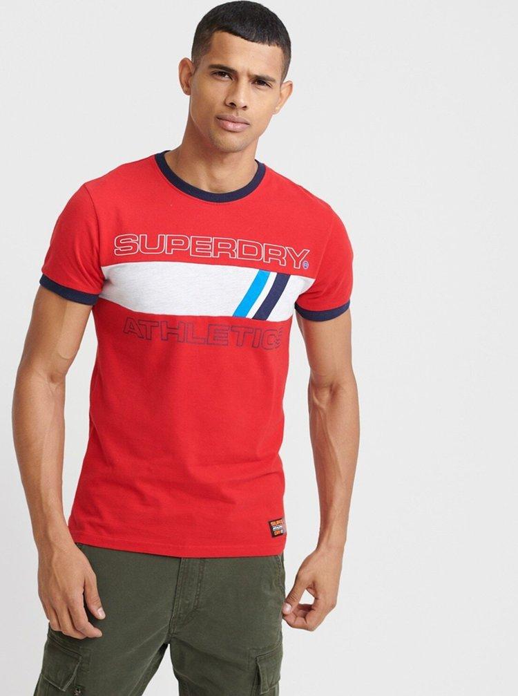 Červené pánské tričko s potiskem Superdry