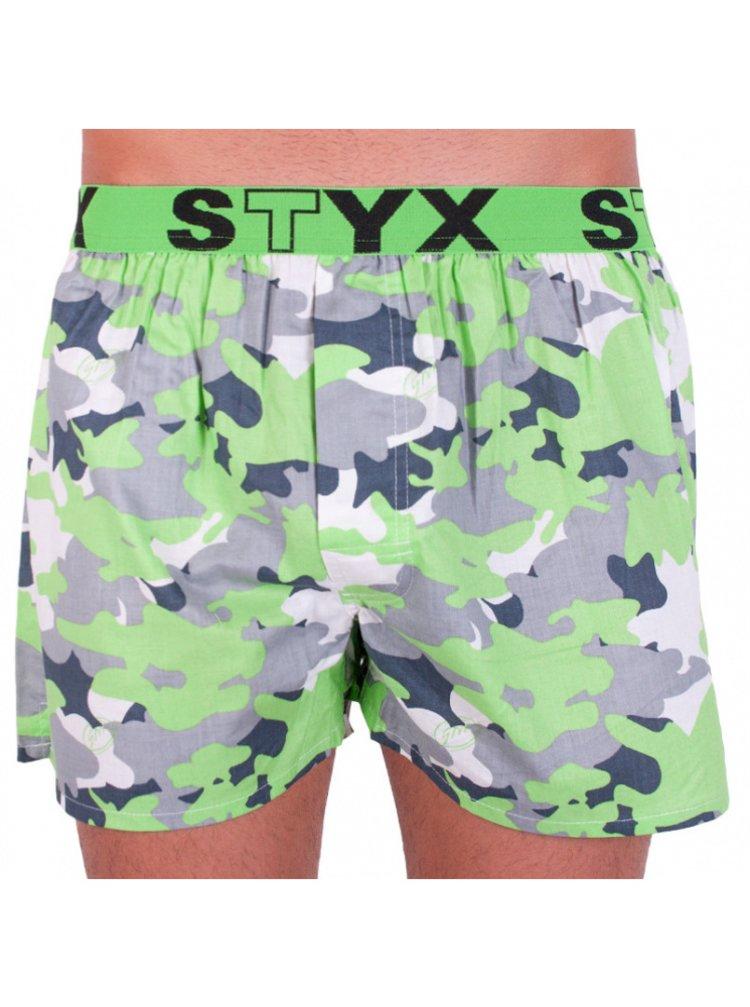 Pánské trenky Styx art sportovní guma zelený maskáč