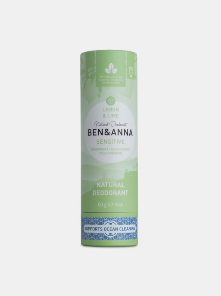 Tuhý deodorant Sensitive BIO - Citrón a limetka 60 g Ben & Anna