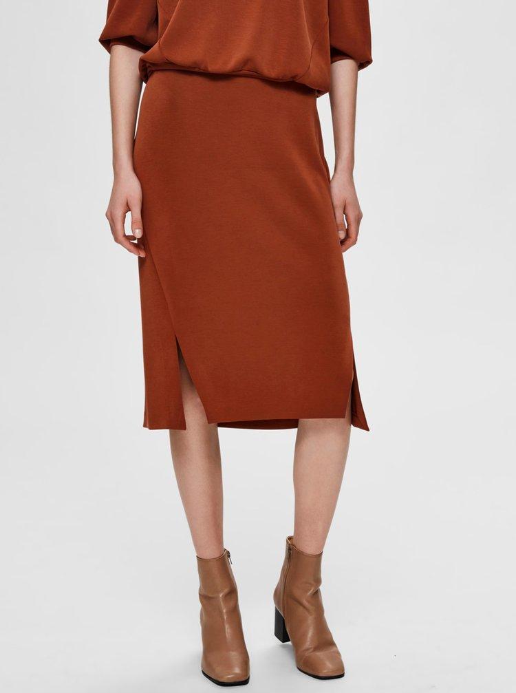 Hnedá sukňa Selected Femme Tenny