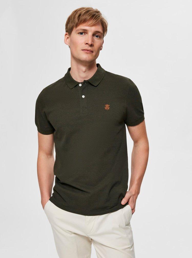 Khaki polo tričko Selected Homme Aro