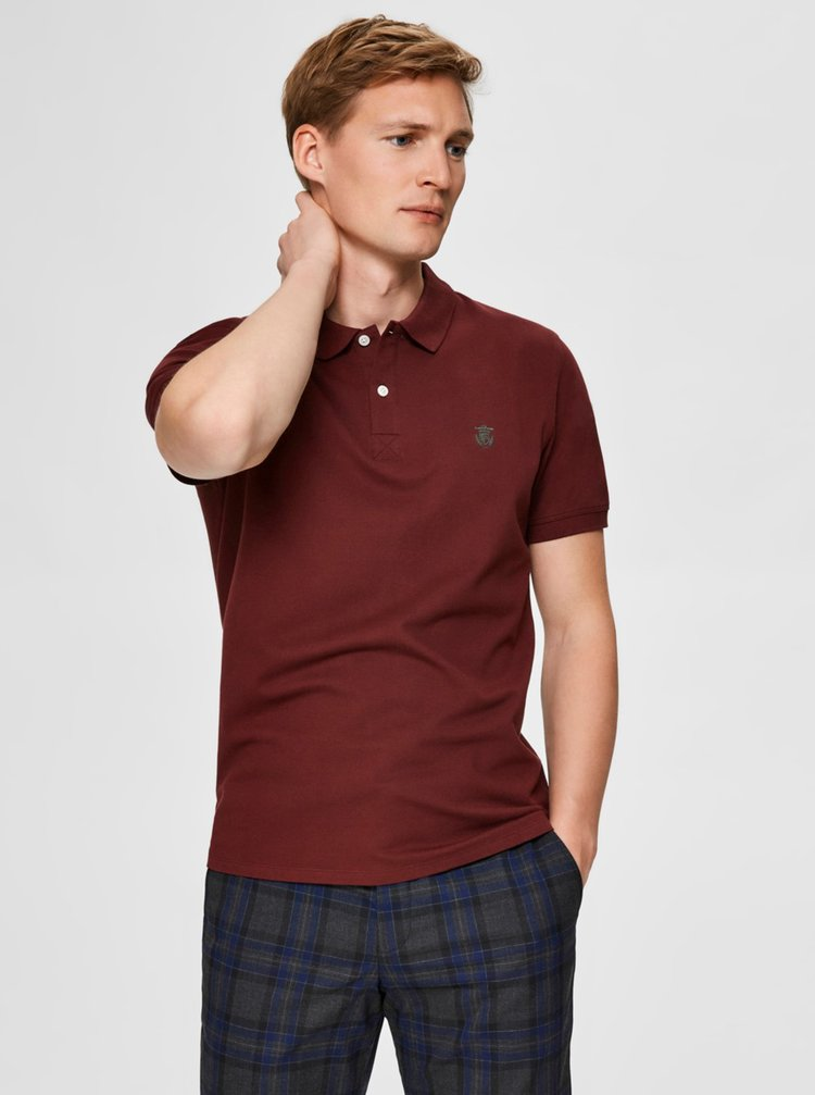 Vínové polo tričko Selected Homme Aro