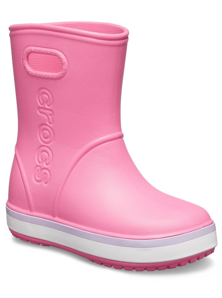 Crocs ružové dievčenské gumáky Crocband Rain Boot Pink Lemonade/Lavender