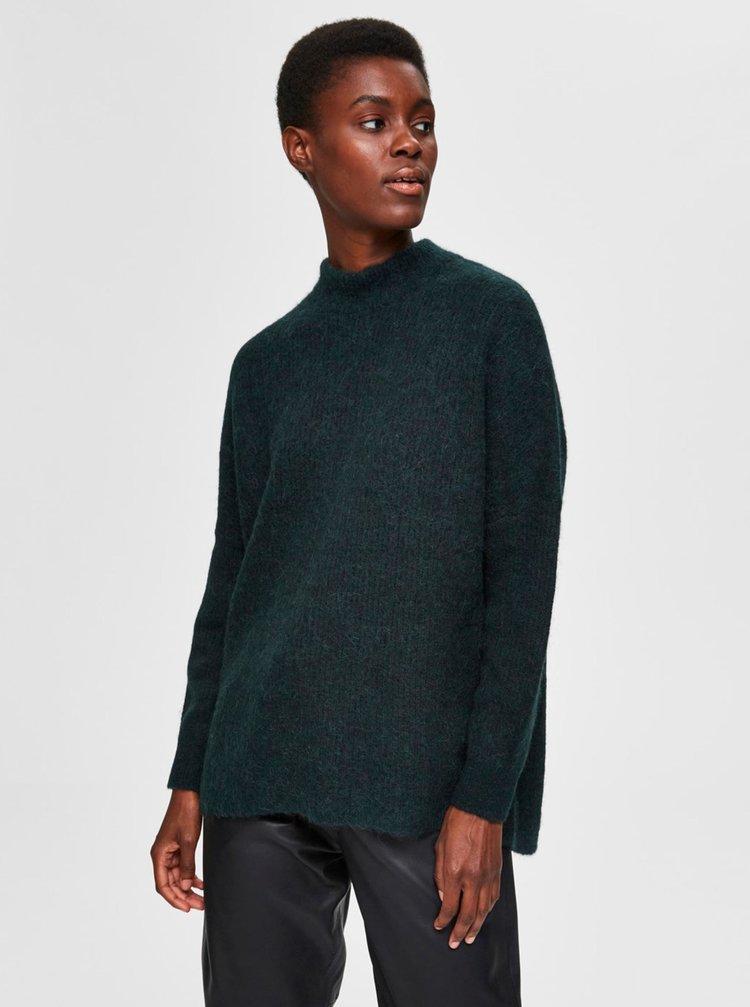 Tmavě zelený vlněný svetr Selected Femme Lulu