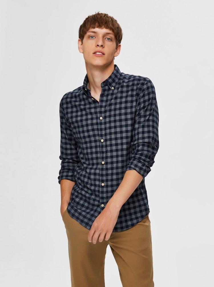 Tmavomodrá kockovaná košeľa Selected Homme Flannel