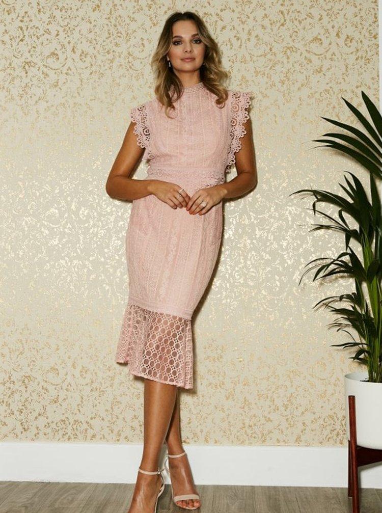 Růžové krajkové šaty Paper Dolls