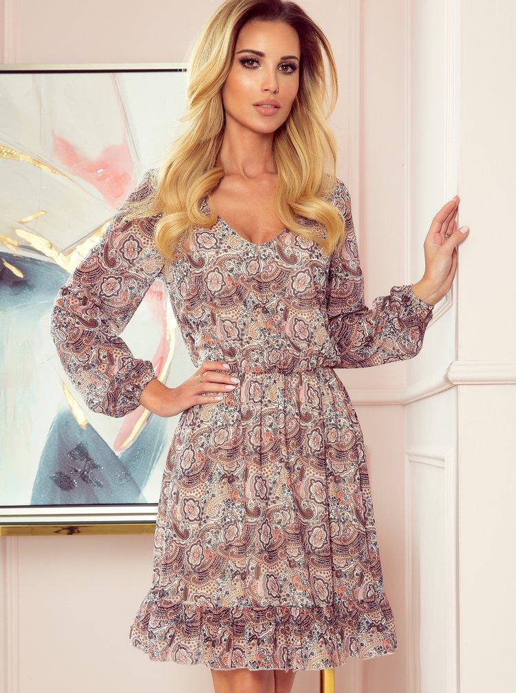 Růžové vzorované šaty numoco