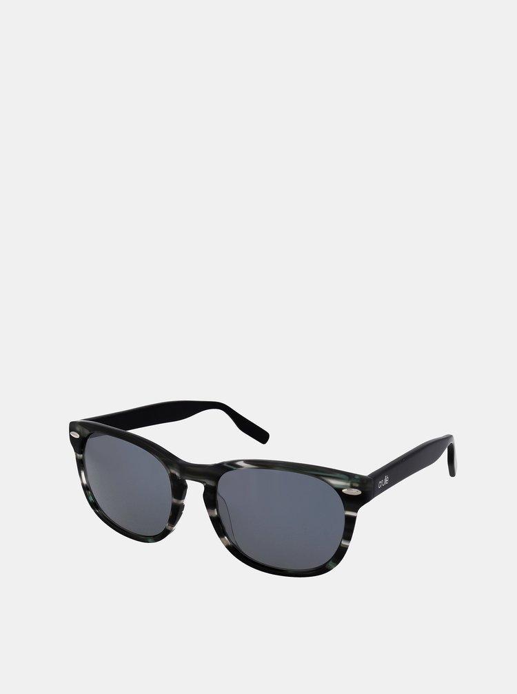 Šedo-černé vzorované sluneční brýle Crullé
