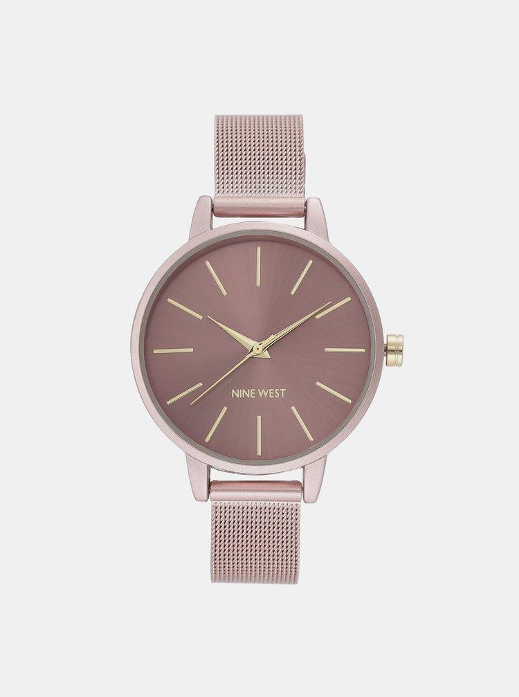 Dámske hodinky s ružovým kovovým remienkom Nine West