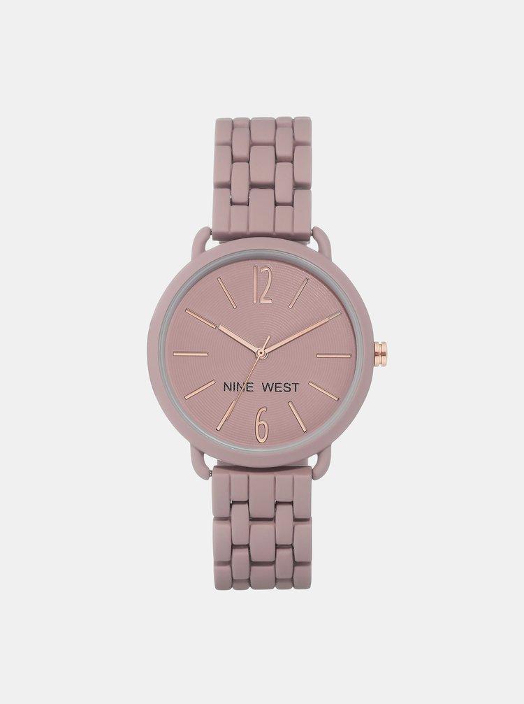 Dámské hodinky s růžovým kovovým páskem Nine West