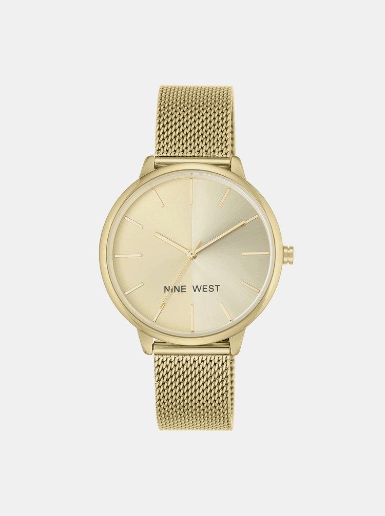 Dámské hodinky s kovovým páskem ve zlaté barvě Nine West