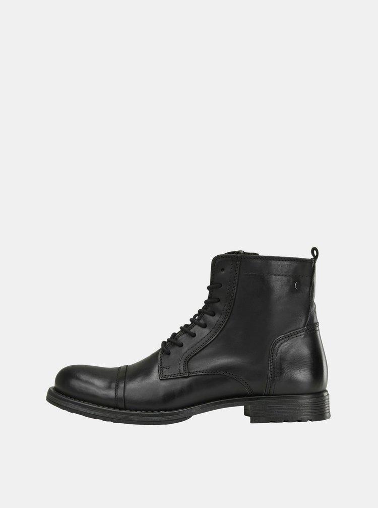 Čierne pánske kožené členkové topánky Jack & Jones Russel