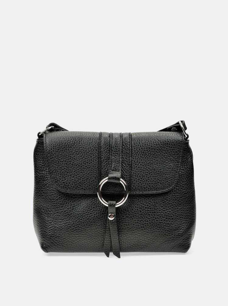 Čierna kožená crossbody kabelka Anna Luchini
