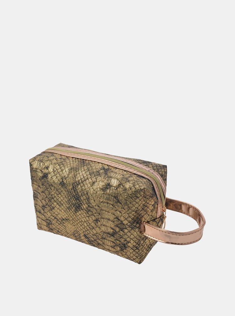 Kosmetická taštička ve zlaté barvě s hadím vzorem Clayre & Eef