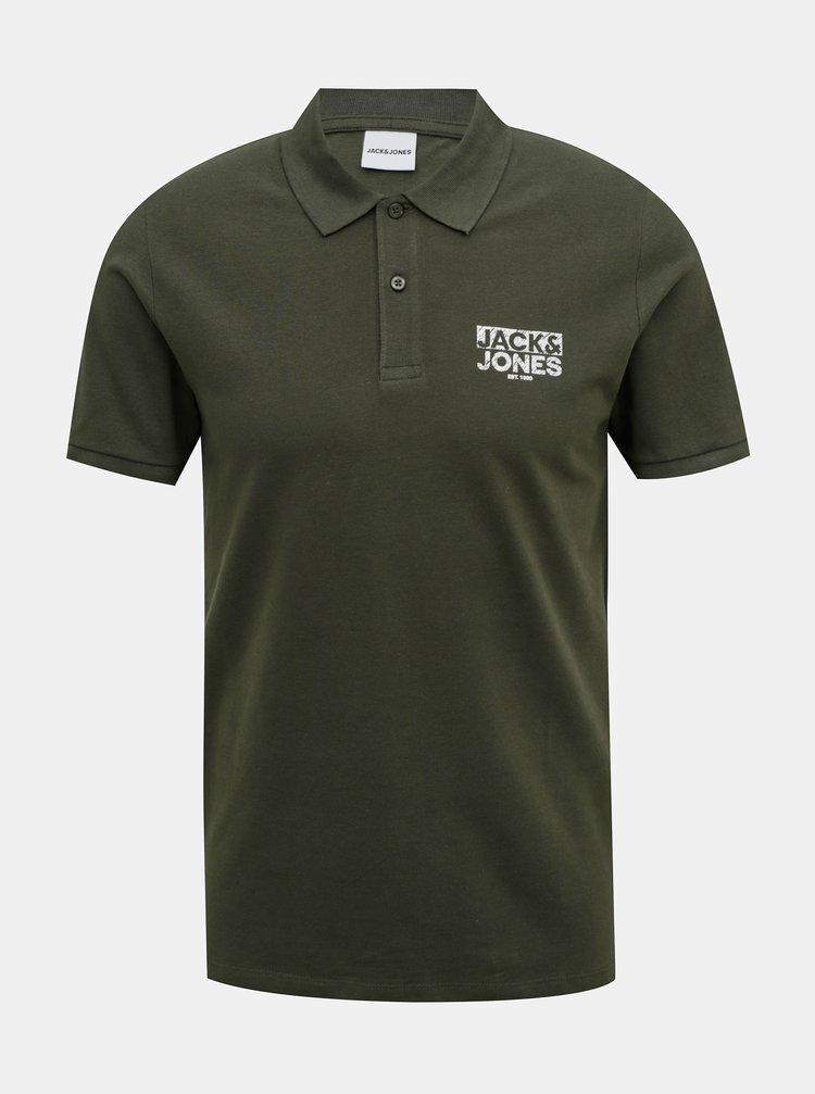 Khaki polo tričko Jack & Jones Hero