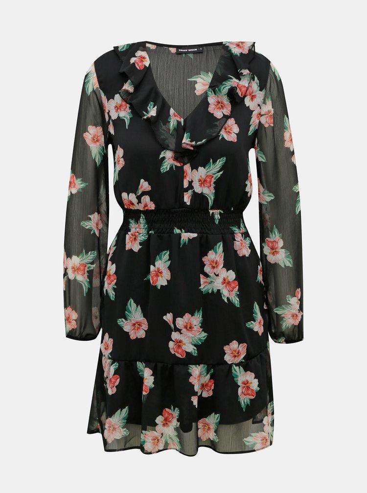 Černé květované šaty s volány TALLY WEiJL