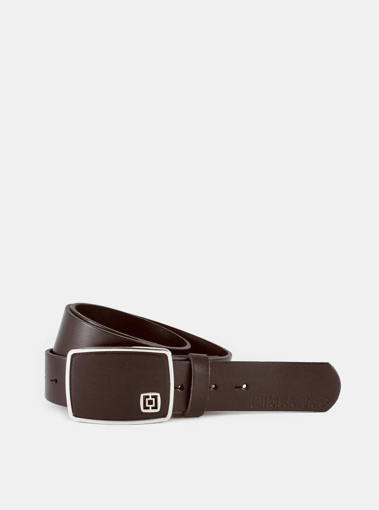 Tmavě hnědý pánský kožený pásek Horsefeathers
