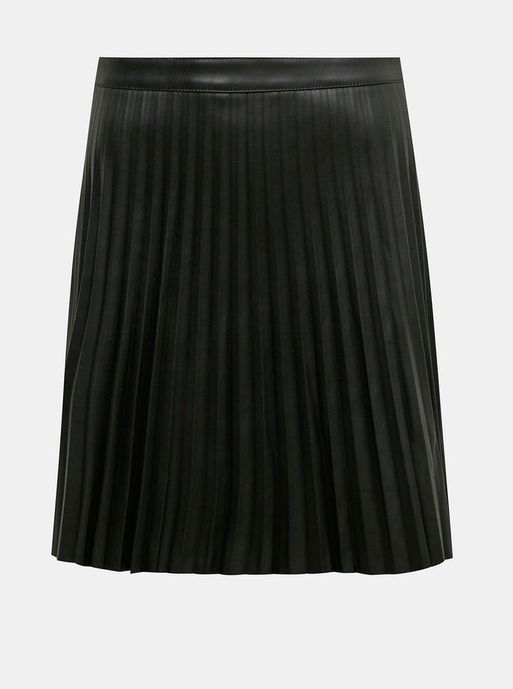 Černá koženková plisovaná sukně Jacqueline de Yong