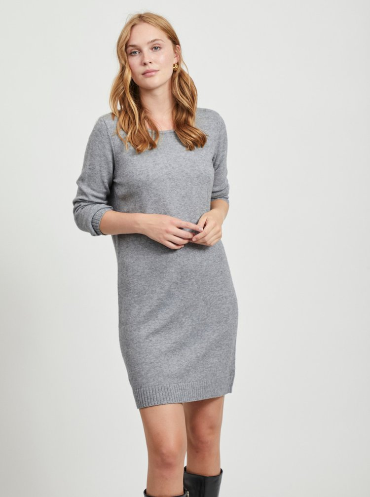 Šedé svetrové šaty VILA Ril
