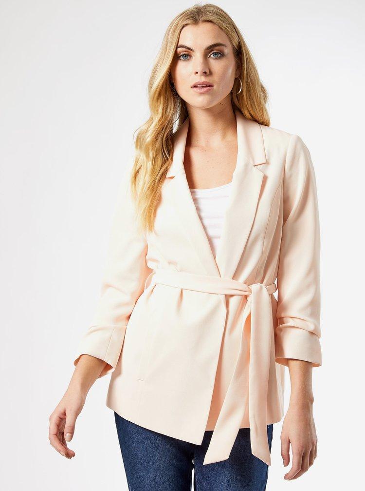 Světle růžové sako se zavazováním Dorothy Perkins