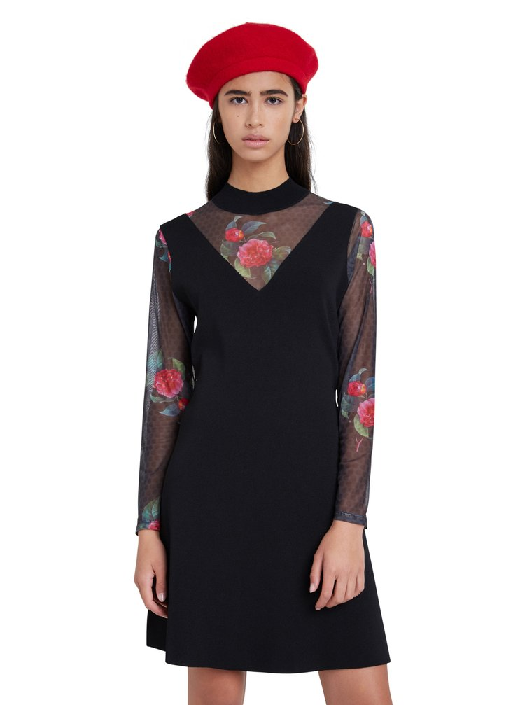 Desigual čierne šaty Vest Tokio s transparentnými rukávmi