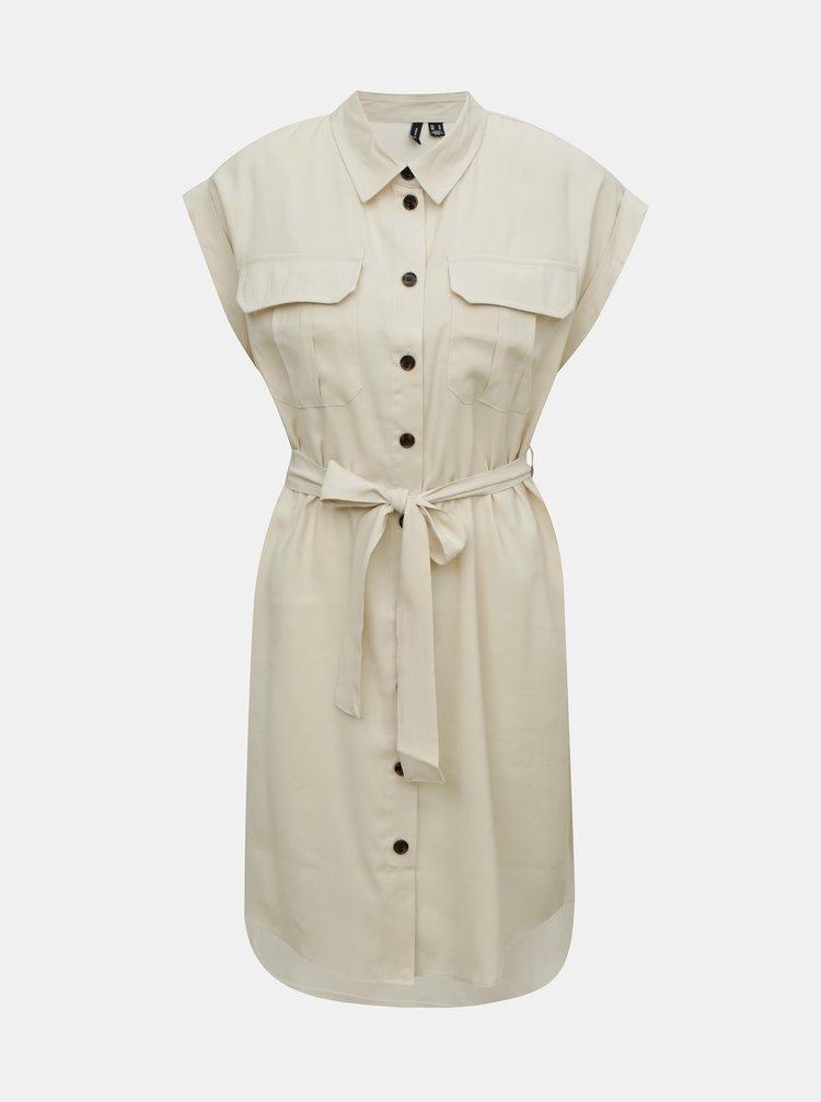 Krémové košeľové šaty VERO MODA Venus