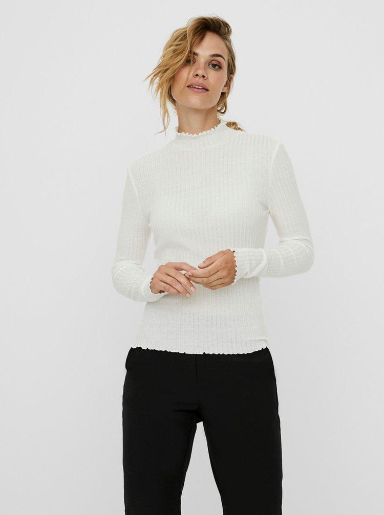 Biele rebrované tričko Noisy May Berry