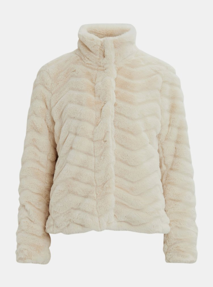 Krémová bunda z umělého kožíšku VILA Aliba
