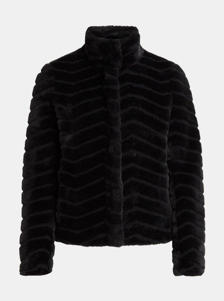 Černá bunda z umělého kožíšku VILA Aliba