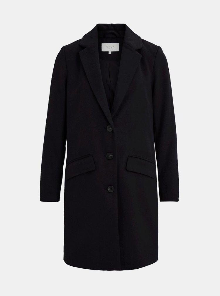 Čierny kabát s prímesou vlny VILA Leovita
