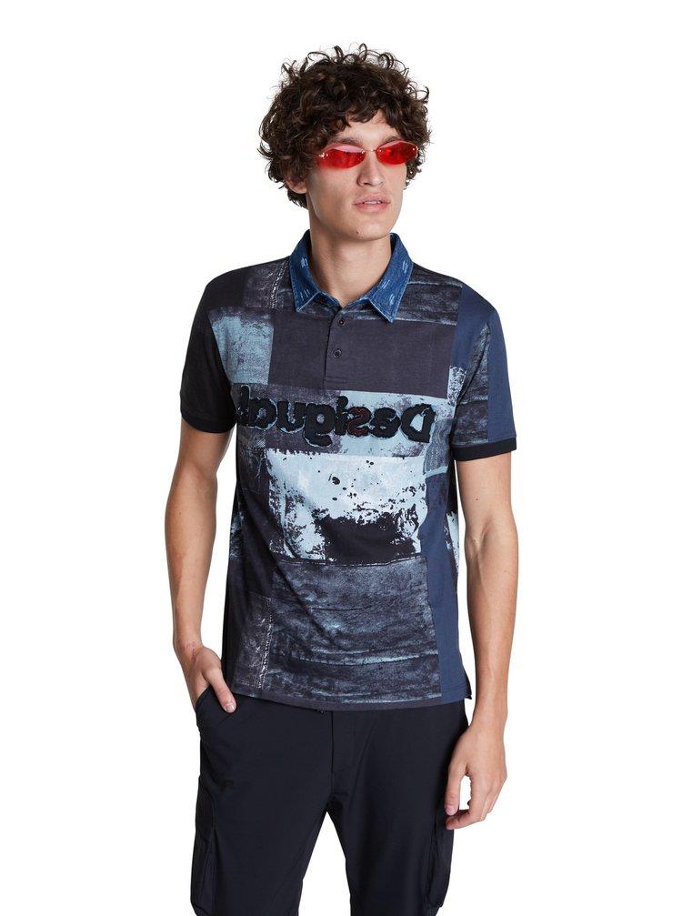 Desigual modré pánské tričko Polo Rei